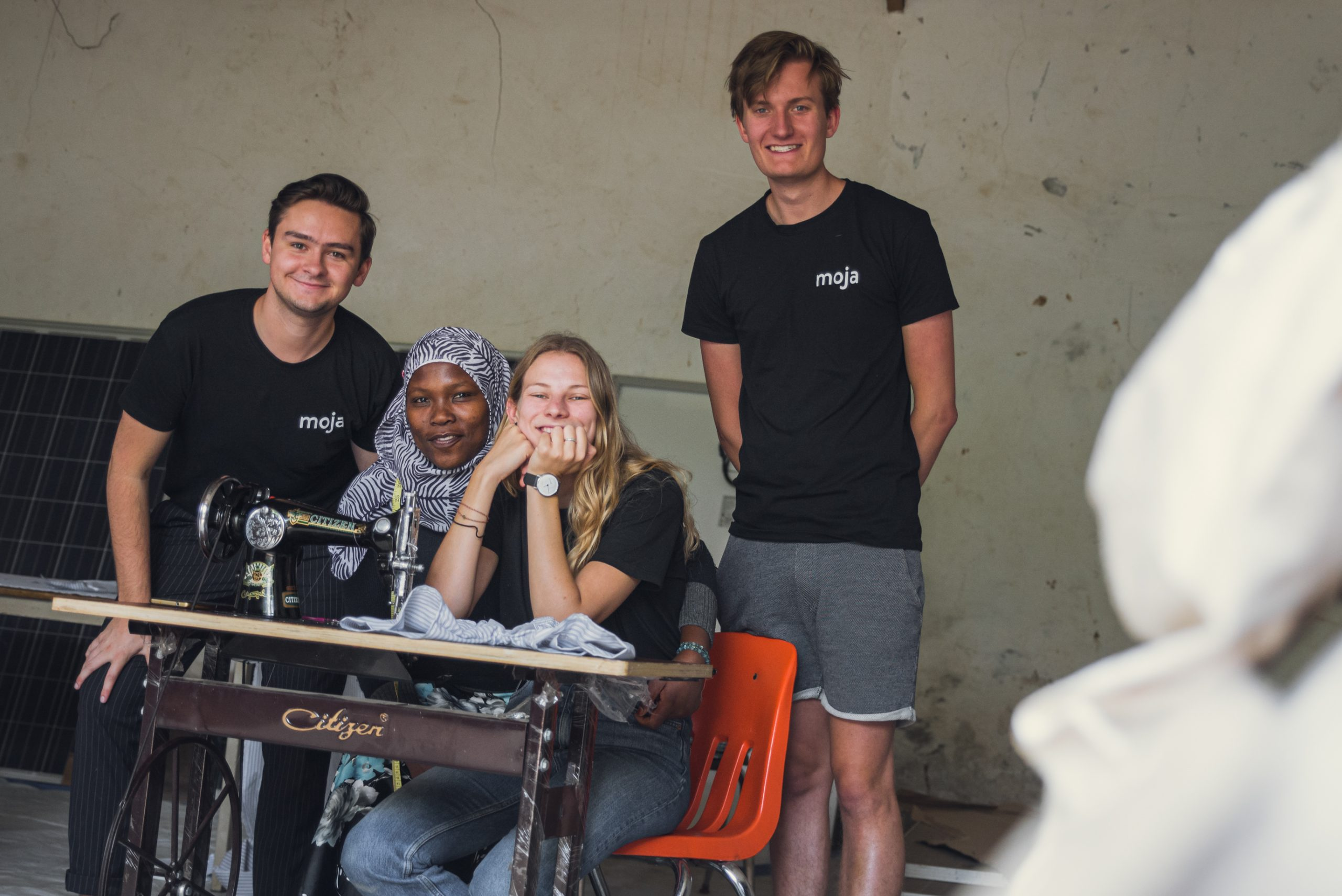 Spijk, Mama Ismael (Sewing Manager), Elissa and Thom.